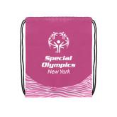 Nylon Zebra Pink/White Patterned Drawstring Backpack-Primary Mark Vertical