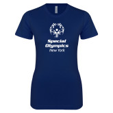 Next Level Ladies SoftStyle Junior Fitted Navy Tee-Primary Mark Vertical