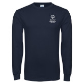 Navy Long Sleeve T Shirt-Primary Mark Vertical