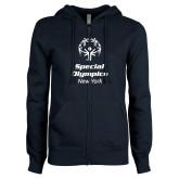 ENZA Ladies Navy Fleece Full Zip Hoodie-Primary Mark Vertical