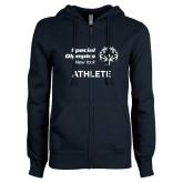 ENZA Ladies Navy Fleece Full Zip Hoodie-Athlete
