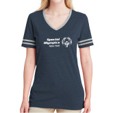 Ladies Navy Heather/Grey Tri Blend Varsity Tee-Primary Mark Horizontal