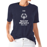Ladies Under Armour Heather Navy Triblend Tee-Primary Mark Vertical