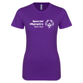 Next Level Ladies SoftStyle Junior Fitted Purple Tee-Primary Mark Horizontal