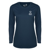 Ladies Syntrel Performance Navy Longsleeve Shirt-Primary Mark Vertical