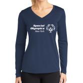 Ladies Syntrel Performance Navy Longsleeve Shirt-Primary Mark Horizontal