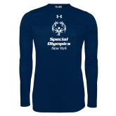 Under Armour Navy Long Sleeve Tech Tee-Primary Mark Vertical