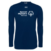 Under Armour Navy Long Sleeve Tech Tee-Primary Mark Horizontal