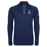 Under Armour Navy Tech 1/4 Zip Performance Shirt-Primary Mark Vertical