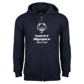 Navy Fleece Full Zip Hoodie-Primary Mark Vertical