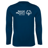 Performance Navy Longsleeve Shirt-Primary Mark Horizontal