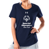 Ladies Under Armour Navy Charged Cotton Tee-Primary Mark Vertical