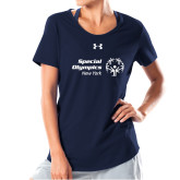 Ladies Under Armour Navy Charged Cotton Tee-Primary Mark Horizontal