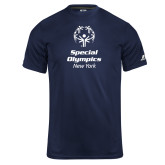 Russell Core Performance Navy Tee-Primary Mark Vertical