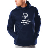 Under Armour Navy Armour Fleece Hoodie-Primary Mark Vertical