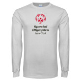 White Long Sleeve T Shirt-Primary Mark Vertical