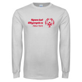 White Long Sleeve T Shirt-Primary Mark Horizontal