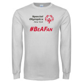 White Long Sleeve T Shirt-Hashtag Be A Fan