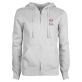 ENZA Ladies White Fleece Full Zip Hoodie-Primary Mark Vertical