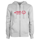 ENZA Ladies White Fleece Full Zip Hoodie-Primary Mark Horizontal