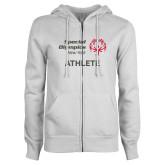 ENZA Ladies White Fleece Full Zip Hoodie-Athlete