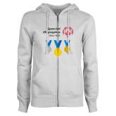 ENZA Ladies White Fleece Full Zip Hoodie-Olympic Medals