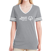 Ladies Grey Heather/White Tri Blend Varsity Tee-Primary Mark Horizontal