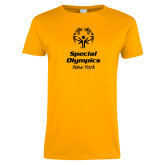 Ladies Gold T Shirt-Primary Mark Vertical