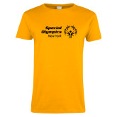 Ladies Gold T Shirt-Primary Mark Horizontal