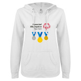 ENZA Ladies White V Notch Raw Edge Fleece Hoodie-Olympic Medals