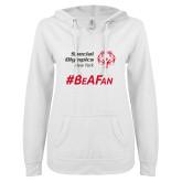 ENZA Ladies White V Notch Raw Edge Fleece Hoodie-Hashtag Be A Fan