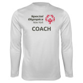 Performance White Longsleeve Shirt-Coach