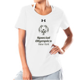 Ladies Under Armour White Charged Cotton Tee-Primary Mark Vertical