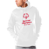 Under Armour White Armour Fleece Hoodie-Primary Mark Vertical