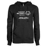 ENZA Ladies Black Fleece Full Zip Hoodie-Athlete