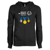 ENZA Ladies Black Fleece Full Zip Hoodie-Olympic Medals