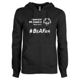 ENZA Ladies Black Fleece Full Zip Hoodie-Hashtag Be A Fan