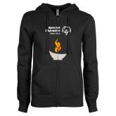 ENZA Ladies Black Fleece Full Zip Hoodie-Olympic Torch