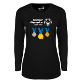 Ladies Syntrel Performance Black Longsleeve Shirt-Olympic Medals