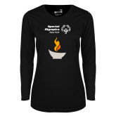 Ladies Syntrel Performance Black Longsleeve Shirt-Olympic Torch