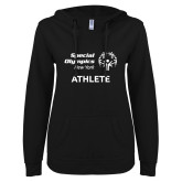 ENZA Ladies Black V Notch Raw Edge Fleece Hoodie-Athlete