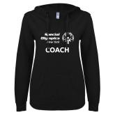 ENZA Ladies Black V Notch Raw Edge Fleece Hoodie-Coach