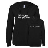 ENZA Ladies Black V Notch Raw Edge Fleece Hoodie-Young Athletes Shirt Front