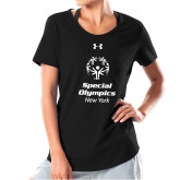 Ladies Under Armour Black Charged Cotton Tee-Primary Mark Vertical