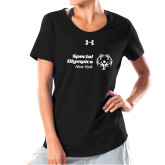 Ladies Under Armour Black Charged Cotton Tee-Primary Mark Horizontal