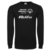Black Long Sleeve T Shirt-Hashtag Be A Fan