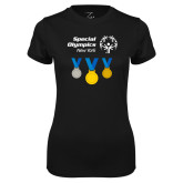 Ladies Syntrel Performance Black Tee-Olympic Medals