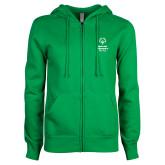 ENZA Ladies Kelly Green Fleece Full Zip Hoodie-Primary Mark Vertical