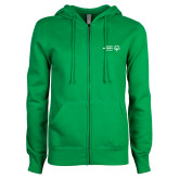 ENZA Ladies Kelly Green Fleece Full Zip Hoodie-Primary Mark Horizontal
