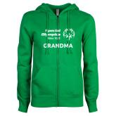 ENZA Ladies Kelly Green Fleece Full Zip Hoodie-Grandma